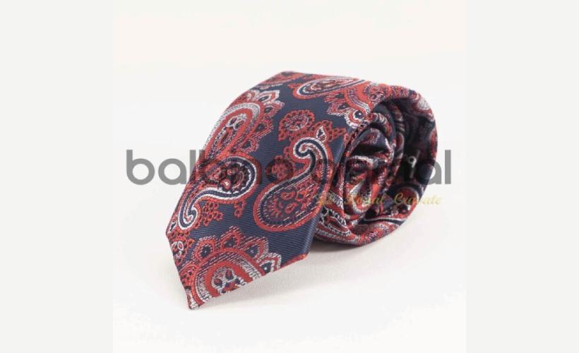 Corbata cachemir rojo y blanco