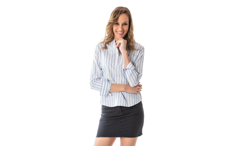 Blusa M/larga rayas jacquard con 15 % dto