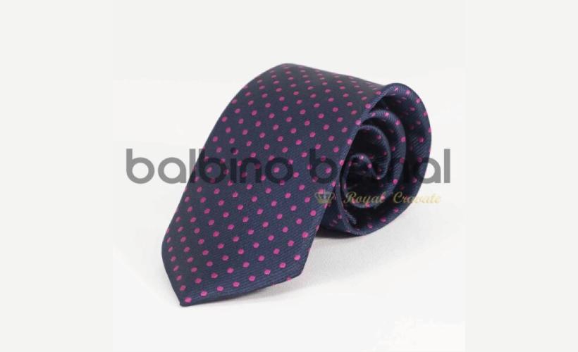Corbata básica Marino con lunares Fucsia